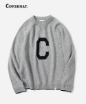커버낫(COVERNAT) KNIT C LOGO CREWNECK GRAY