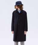 SUEDE COTTON-TWILL TRENCH COAT NAVY