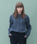 DOUBLE TUCK BLOUSE NAVY