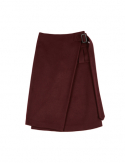 드퐁(DEFOND) WOOL BLENDING STRAP SKIRT_BURGUNDY