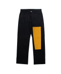 [EASY BUSY] Simple Patchwork Pants - Black/Yellow