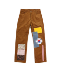 [EASY BUSY] Flag Patchwork Pants - Brown