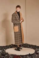 CHECK MIX LONG COAT_CAMEL
