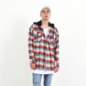 바이엘() OVER FLANNEL HOOD SHIRT RED