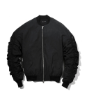 헤비스모커(HEAVYSMOKER) Shirring Logo Jacket (Black)