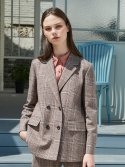 BROWN CHECK SUIT JACKET
