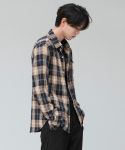 시에스타(SIESTA) MIX CHECK SHIRT [BROWN]