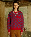 [UNISEX] CHECKERBOARD KNIT - RED