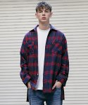매스노운(MASSNOUN) CHRRYSANTHEMUM CHECK SIDE VENT LONG SHIRT MFVST002-NV