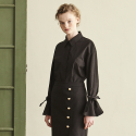 SLEEVE RIBBON SHIRT_BLACK