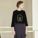 LINE LOGO VELVET LONG TOP_BLACK