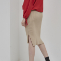 누이슈(NUISSUE) KNIT MID SKIRT BEIGE