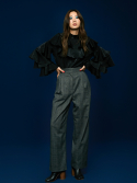 Wide Check Pant in Black