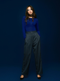 미드나잇 서커스(MIDNIGHT CIRCUS) Wide Check Pant in Navy