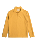 OPEN COLLAR LONG SLEEVE POLO SHIRTS - MUSTARD