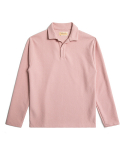 OPEN COLLAR LONG SLEEVE POLO SHIRTS - PINK