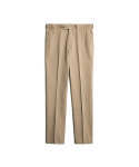 PEACH WASHED COTTON BELTLESS PANTS - BEIGE