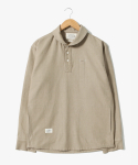 Stitches Stripe Pullover Shirts [Beige]