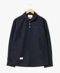 Stitches Stripe Pullover Shirts [Navy]