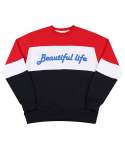 모티브스트릿(MOTIVESTREET) LINE SWEAT SHIRT RED