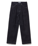 라이풀() ONE TUCK WIDE DENIM PANTS indigo