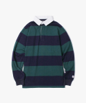 아이졸라(IZOLA) Stripe Rugby Tee - Green / Navy