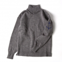 [guernseywoollens]Guernsey Turtleneck Sweater - Mid Grey