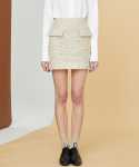 밀로그램(MILLOGREM) comma tweed skirt - cream