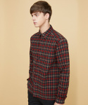 밀로그램(MILLOGREM) fringe heavy check shirts - red