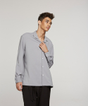 하레() Minimal Open Collar Shirts (Gray) [HPFMTL001GRY]