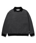 라이풀() BIG POCKET COLLARED SWEATSHIRT charcoal