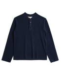 매료(MAERYO) TERRY COTTON HENLEY NECK SHIRT - NAVY