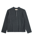 매료(MAERYO) TERRY COTTON HENLEY NECK SHIRT - DARK GRAY