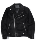 Suede Belted Rider Jacket (Black)