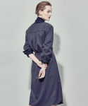 WOMAN BELTED SHIRT ONE PIECE (CHARCOAL)