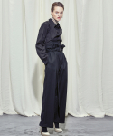 WOMAN CORSET BELT WIDE PANTS (BLACK)
