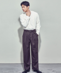 살롱드서울(SALON DE SEOUL) MAN BELTED PINTUCK WIDE PANTS (BROWN)