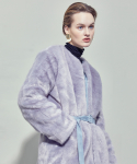 WOMAN BELTED ECO FUR HALF COAT (BLUE GREY)