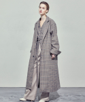 UNISEX SINGLE MAXI COAT (CHECK BEIGE)