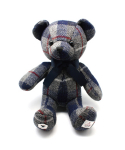 클로모르(CLOMOR) CLOMOR HARRIS TWEED TEDDY BEAR_TARTAN GREY & BLUE