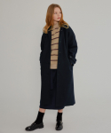MG7F HIGH COLLAR WOOL MAC COAT (NAVY)