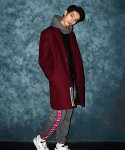 OVER FIT HEAVY SOLID T/R LONG COAT WINE