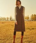 션메익스클로스(SEANMAKESCLOTH) DOUBLE BUTTON CHECK DRESS  BROWN
