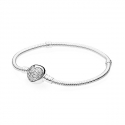 590743CZ Moments Sparkling Heart Clasp SILVER BANGLE