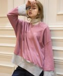 하케쉬(HACKESCH) H Color Block Sweatshirt_Pink