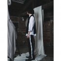 뮤트먼트(MUTEMENT) BLACK SIDE PAINTING SLACKS