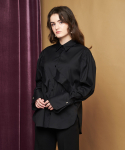 RUFFLE DETAIL SHIRT BLACK