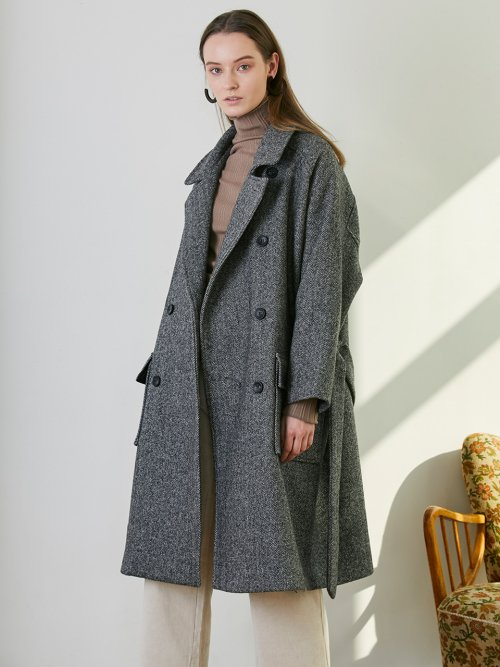 HERRINGBONE RAGLAN COAT