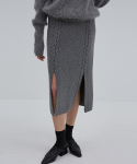 CURTAIN SKIRT GREY (WOOL CABLE KNIT SKIRT)