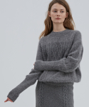 CAT KNIT GREY (ANGORA TWO-TONE CABLE KNIT)